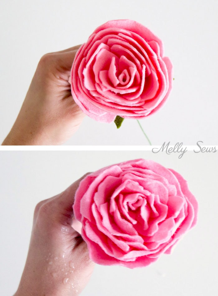 Step 7 - How to make a felt peony - felt flower tutorial by Melly Sews