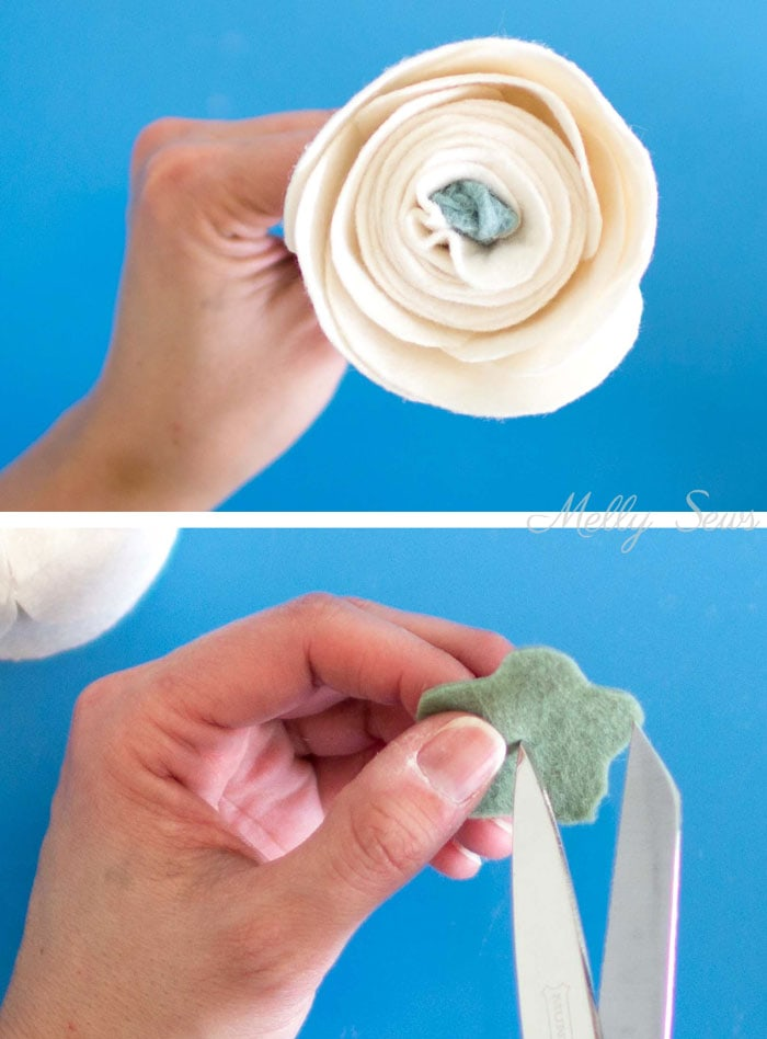 Step 7 - How to make a felt chrysanthemum - felt flower tutorial by Melly Sews