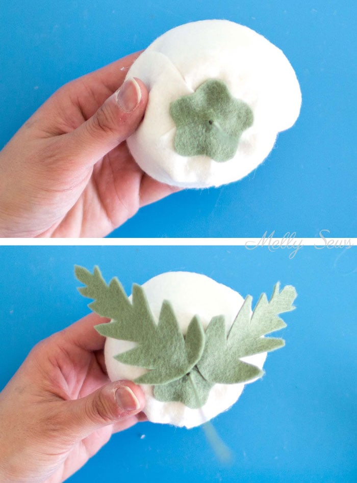 Step 8 - How to make a felt chrysanthemum - felt flower tutorial by Melly Sews