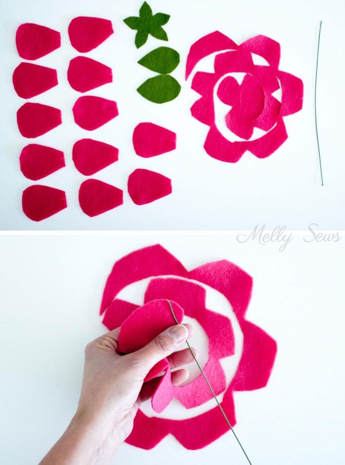 Step 1 - How to make a felt rose - felt flower tutorial by Melly Sews