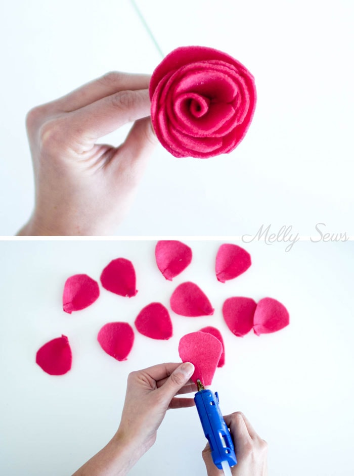 Step 3 - How to make a felt rose - felt flower tutorial by Melly Sews