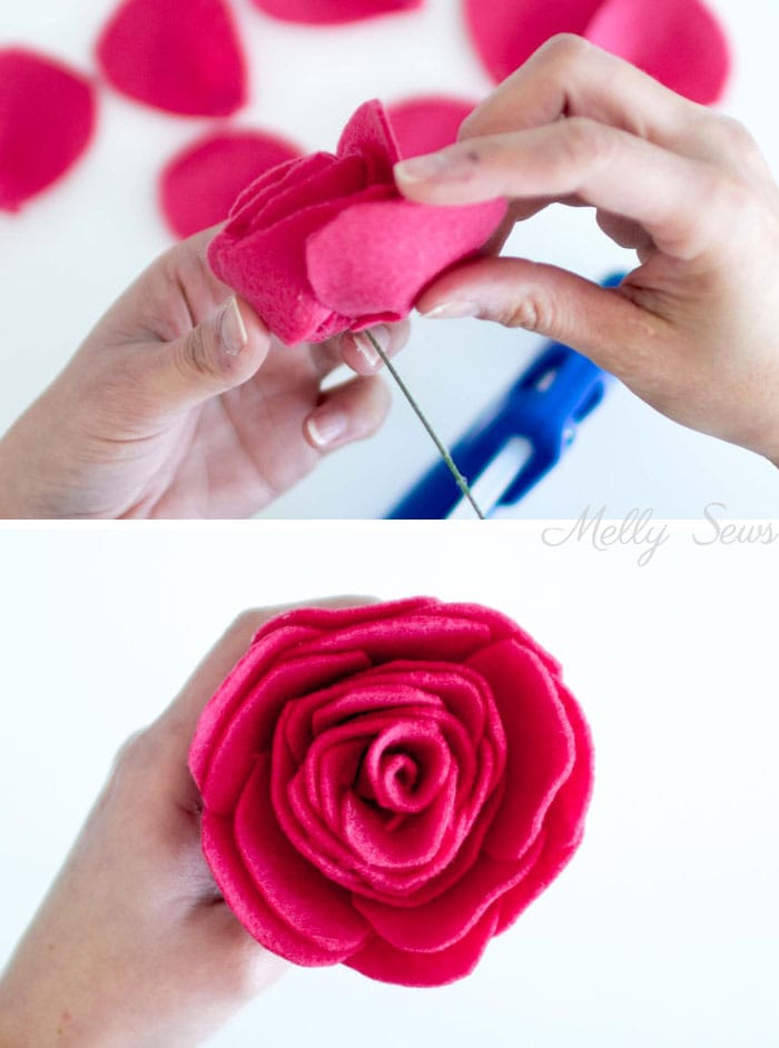 Step 4 - How to make a felt rose - felt flower tutorial by Melly Sews