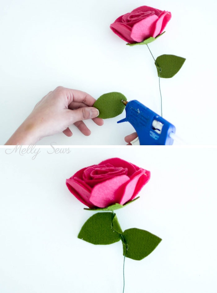 Step 6 - How to make a felt rose - felt flower tutorial by Melly Sews