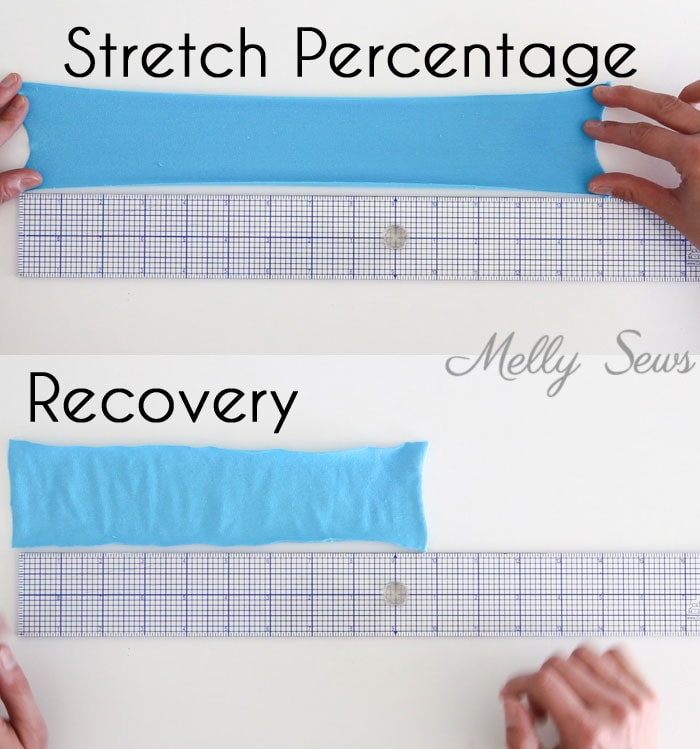 What is stretch percentage of knit fabric? This post talks about it as well as hot to sew knits - Melly Sews