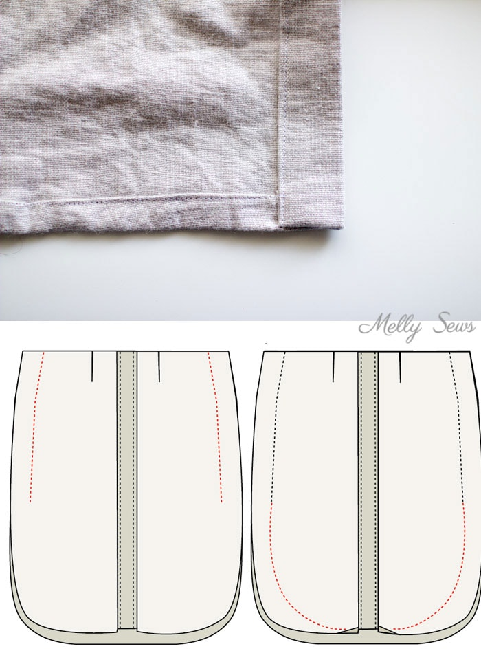 Step 5 - Button Front Maxi Skirt Tutorial - Make a maxi skirt with a side slit - Melly Sews