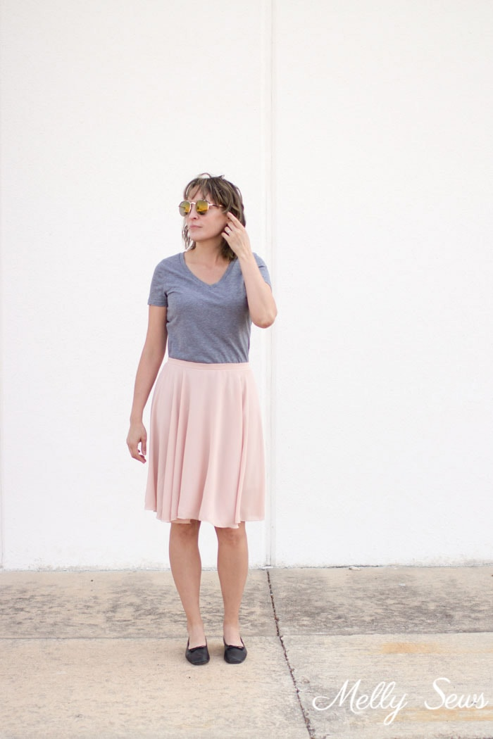 Pink skirt and gray t-shirt - How to Sew a Circle Skirt - DIY Circle Skirt with a Waistband - Melly Sews