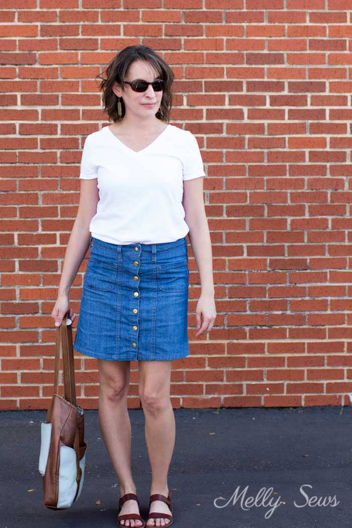 Basic outfit - Sew a Button Up Denim Skirt - Full Tutorial for this skirt in any size by Melly Sews