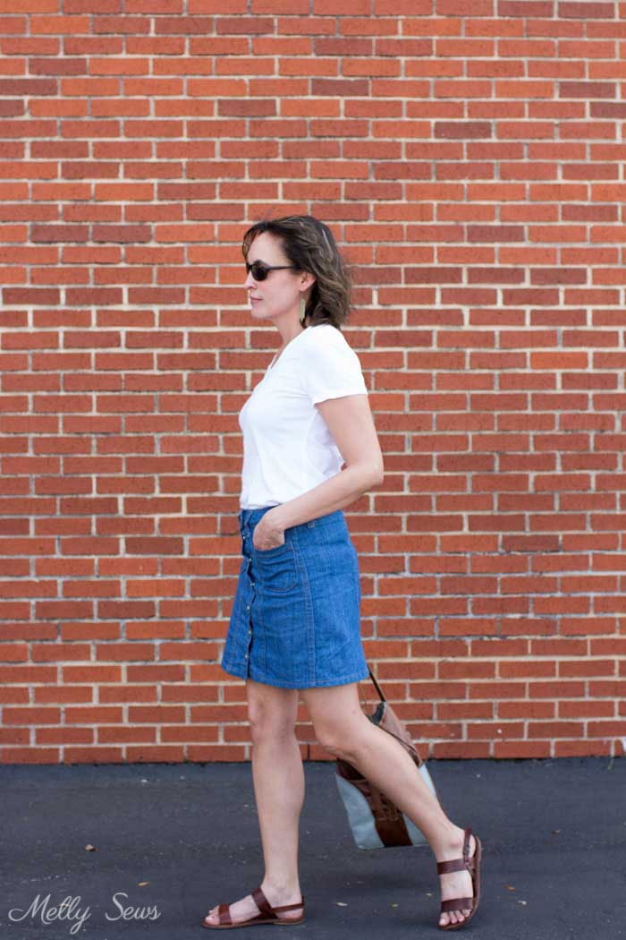Denim skirt outfit - Sew a Button Up Denim Skirt - Full Tutorial for this skirt in any size by Melly Sews