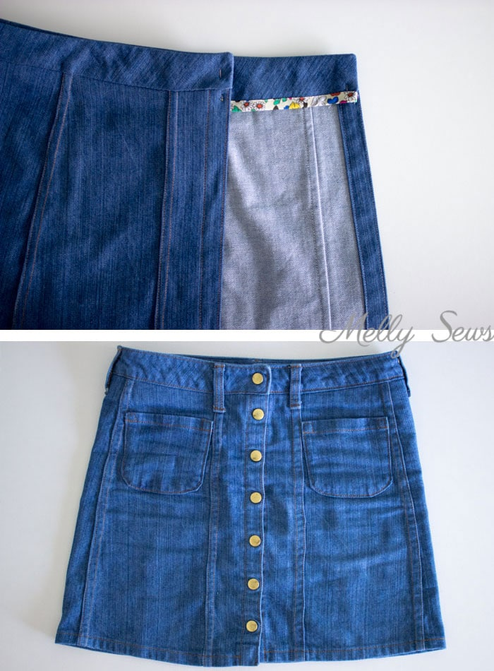 Step 9 - Sew a Button Up Denim Skirt - Full Tutorial for this skirt in any size by Melly Sews