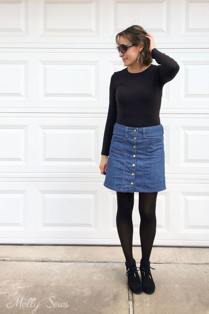 Fall Casual outfit - how to wear handmade - Sew a Button Up Denim Skirt - Full Tutorial for this skirt in any size by Melly Sews