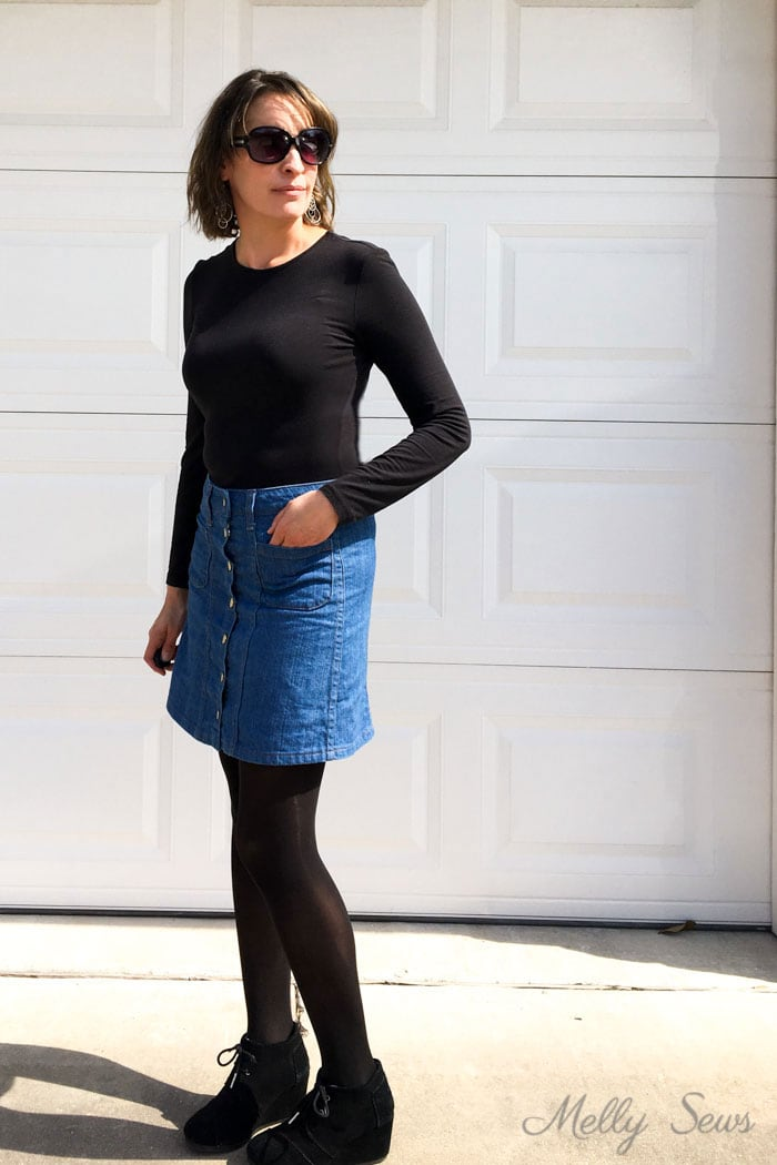 Denim skirt outfit - black t-shirt and tights - Sew a Button Up Denim Skirt - Full Tutorial for this skirt in any size by Melly Sews