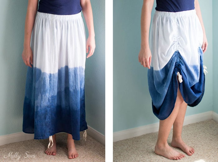 Long and Short Lengths - Sew an adjustable length skirt - make a skirt with ruching - a tutorial by Melly Sews