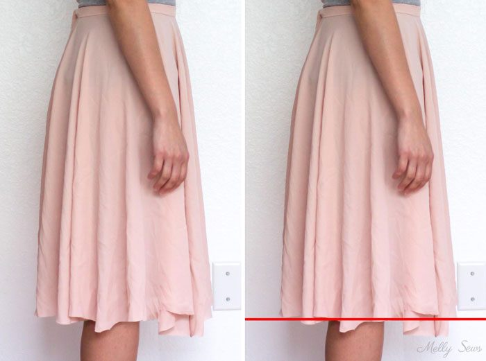 Why you have to try on a skirt to hem - How to hem a skirt - Melly Sews