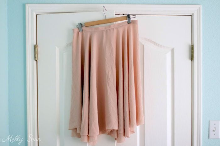 Hang a circle skirt before hemming - How to Sew a Circle Skirt - Melly Sews DIY tutorial