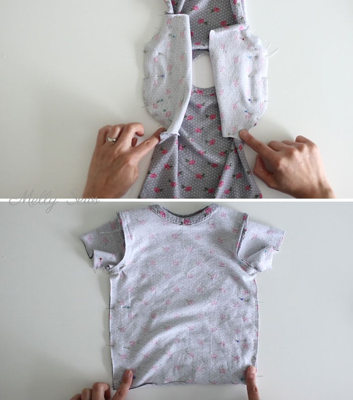 Step 4 - Sew a baby tshirt - super cute free pattern - would be an adorable baby gift! Tutorial and video from Melly Sews