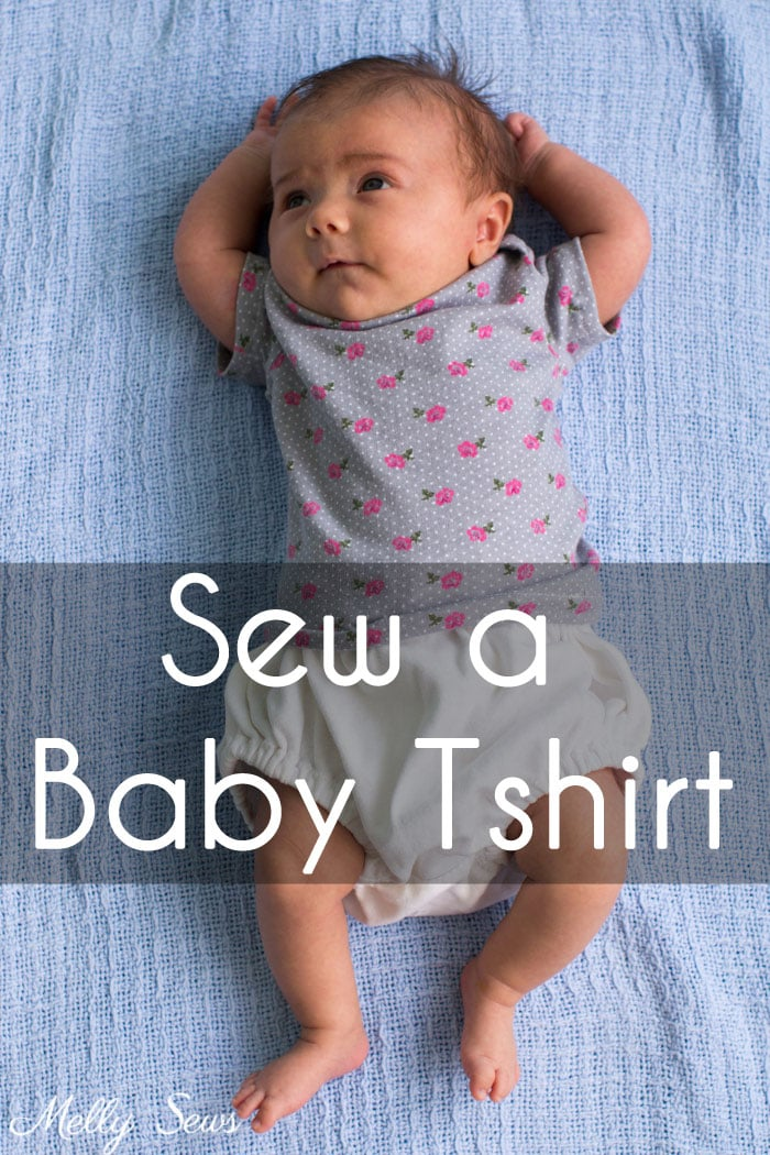 Sew a baby tshirt - super cute free pattern - would be an adorable baby gift! Tutorial and video from Melly Sews