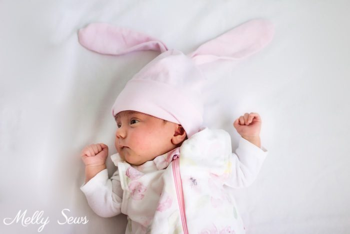 Bunny ears! Sew a bunny hat - such a cute gift to sew for a baby! Tutorial from Melly Sews