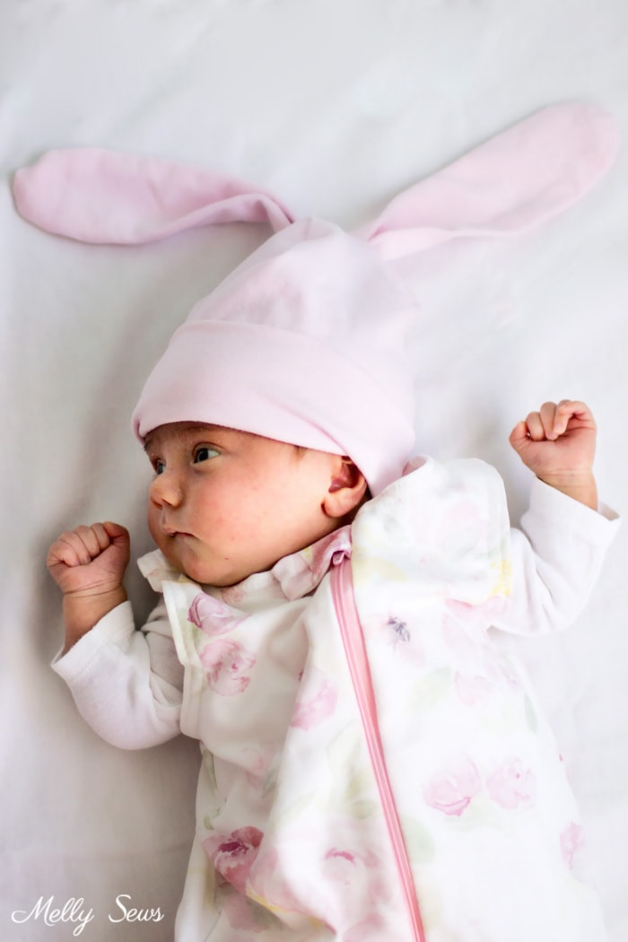 Such a precious baby - Sew a bunny hat - such a cute gift to sew for a baby! Tutorial from Melly Sews