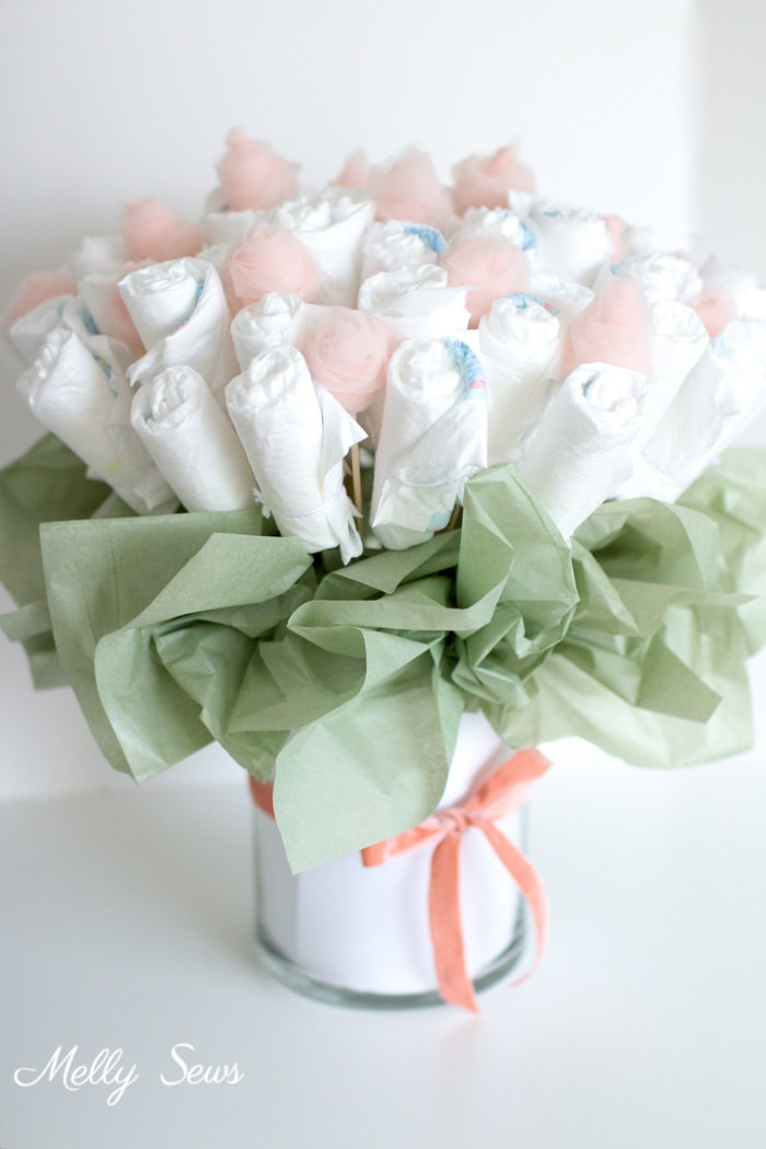 How to Make a Diaper Bouquet - What a Cute Alternative to a Diaper Cake - and it could be nursery decor while being used! Tutorial and video from Melly Sews