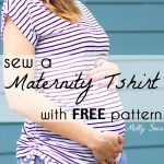 Sew an easy Maternity Tshirt - adapt a free pattern for maternity wear by adding ruching - pattern and tutorial available from Melly Sews