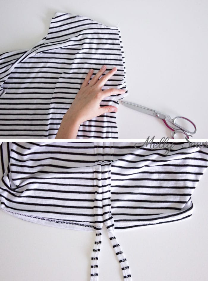 Add ruching to make a maternity tshirt - Sew an easy Maternity Tshirt - adapt a free pattern for maternity wear by adding ruching - pattern and tutorial available from Melly Sews