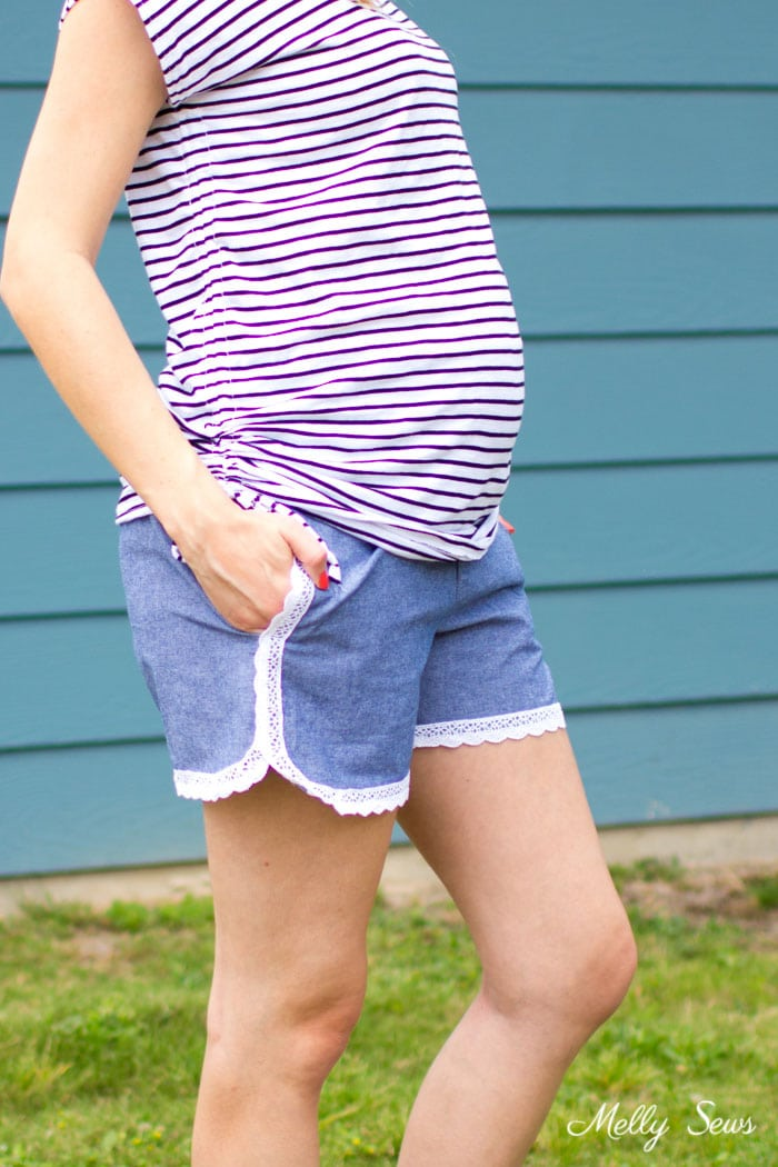 And they have pockets! Lace trimmed chambray maternity shorts - free pattern and tutorial from Melly Sews