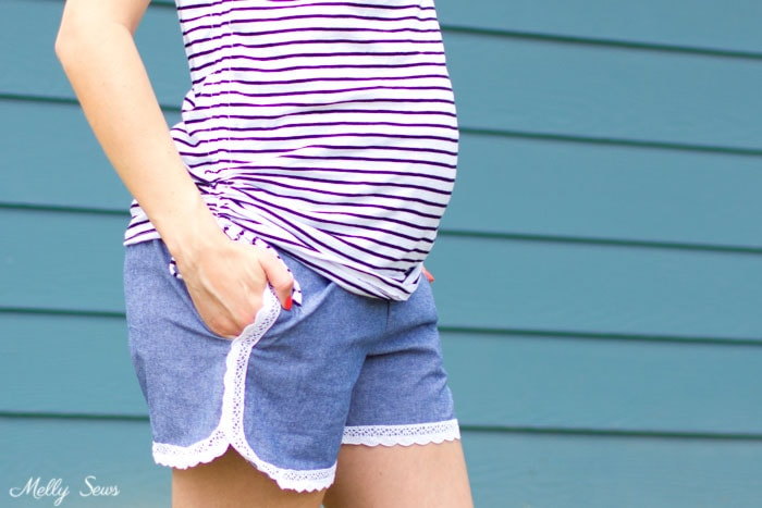 Comfy and cute - Lace trimmed chambray maternity shorts - free pattern and tutorial from Melly Sews