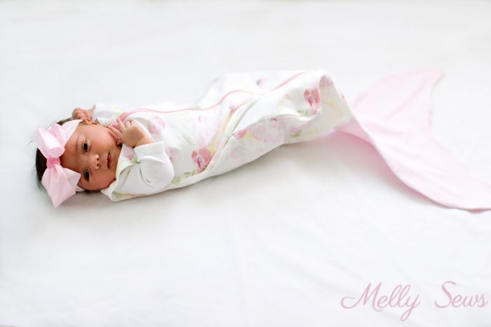 Sweet baby mermaid! Sew a Mermaid Sleep Sack - a Mermaid blanket for babies! Get the sewing pattern and tutorial including video on Melly Sews