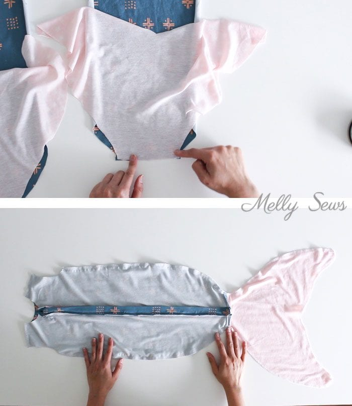 Step 3 - Sew a Mermaid Sleep Sack - a Mermaid blanket for babies! Get the sewing pattern and tutorial including video on Melly Sews