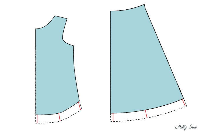 How to lengthen a curved hem -How to lengthen patterns - make a tshirt or dress sewing pattern longer - Melly Sews