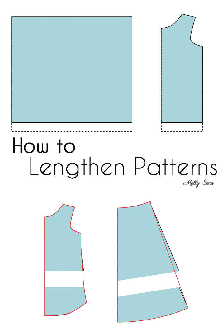 How to lengthen patterns - make a tshirt or dress sewing pattern longer - Melly Sews