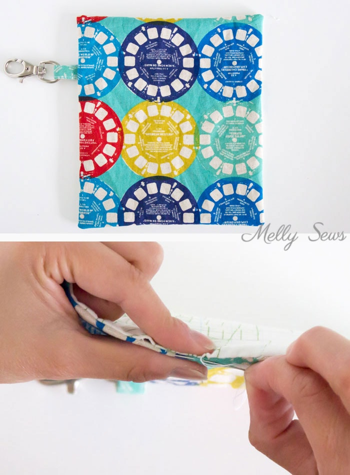 Step 3 - Sew a Snappy Pouch - Genius! Use Metal Measuring Tape as a Pouch Closure - Glasses Case Tutorial by Melly Sews