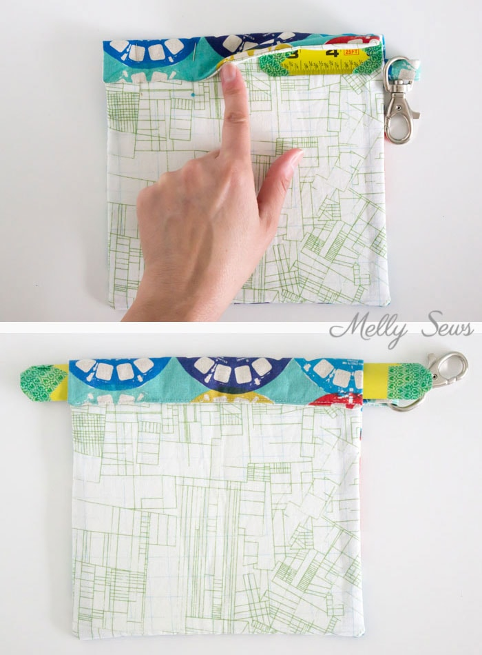 Step 4 - Sew a Snappy Pouch - Genius! Use Metal Measuring Tape as a Pouch Closure - Glasses Case Tutorial by Melly Sews