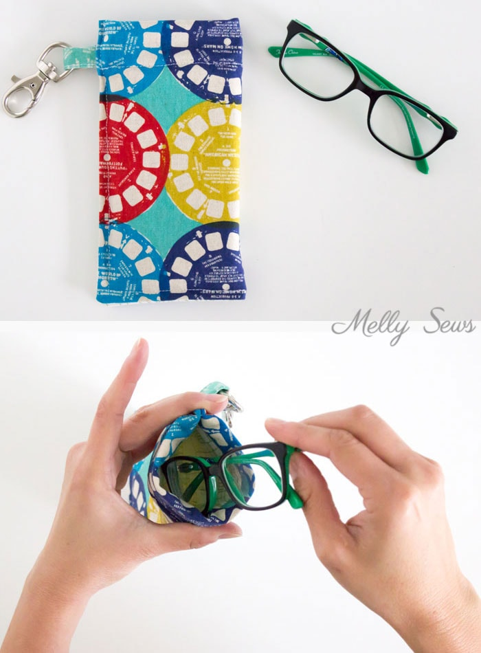Glasses case that closes itself - Sew a Snappy Pouch - Genius! Use Metal Measuring Tape as a Pouch Closure - Glasses Case Tutorial by Melly Sews