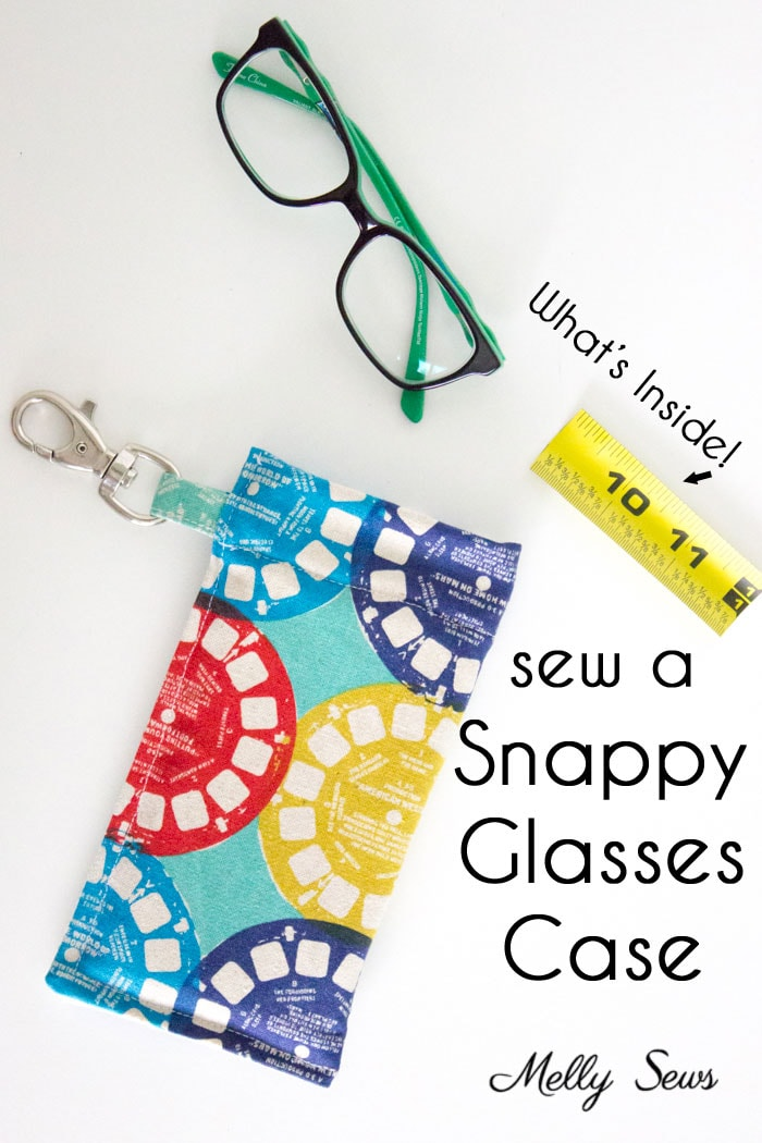 Sew a Snappy Pouch - Genius! Use Metal Measuring Tape as a Pouch Closure - Glasses Case Tutorial by Melly Sews