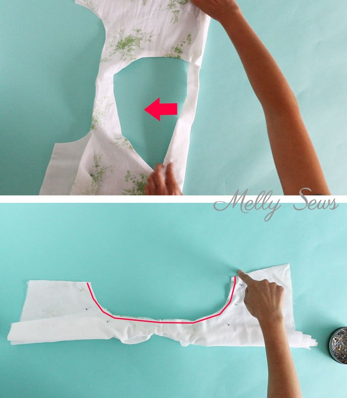 Step 2 - How to sew a lined bodice using the burrito method (also known as the hotdog method to sew a bodice) - tutorial by Melly Sews