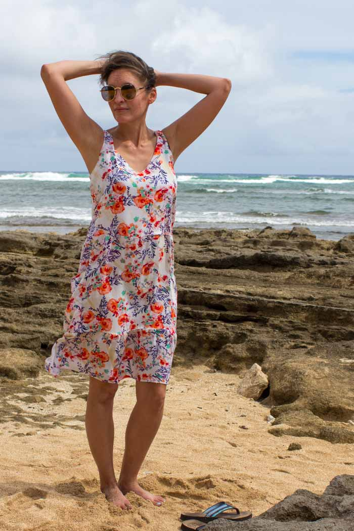 Pretty beach dress! Sew a dropped waist floral sundress with big pockets - tutorial and pattern by Melly Sews