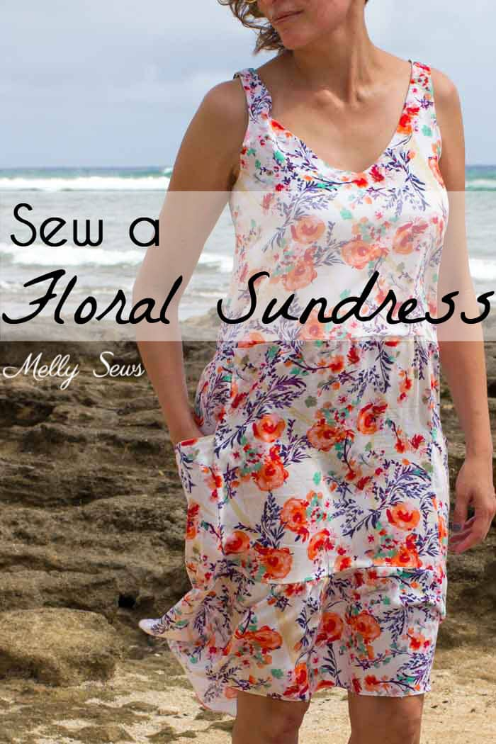 Sew a dropped waist floral sundress with big pockets - tutorial and pattern by Melly Sews