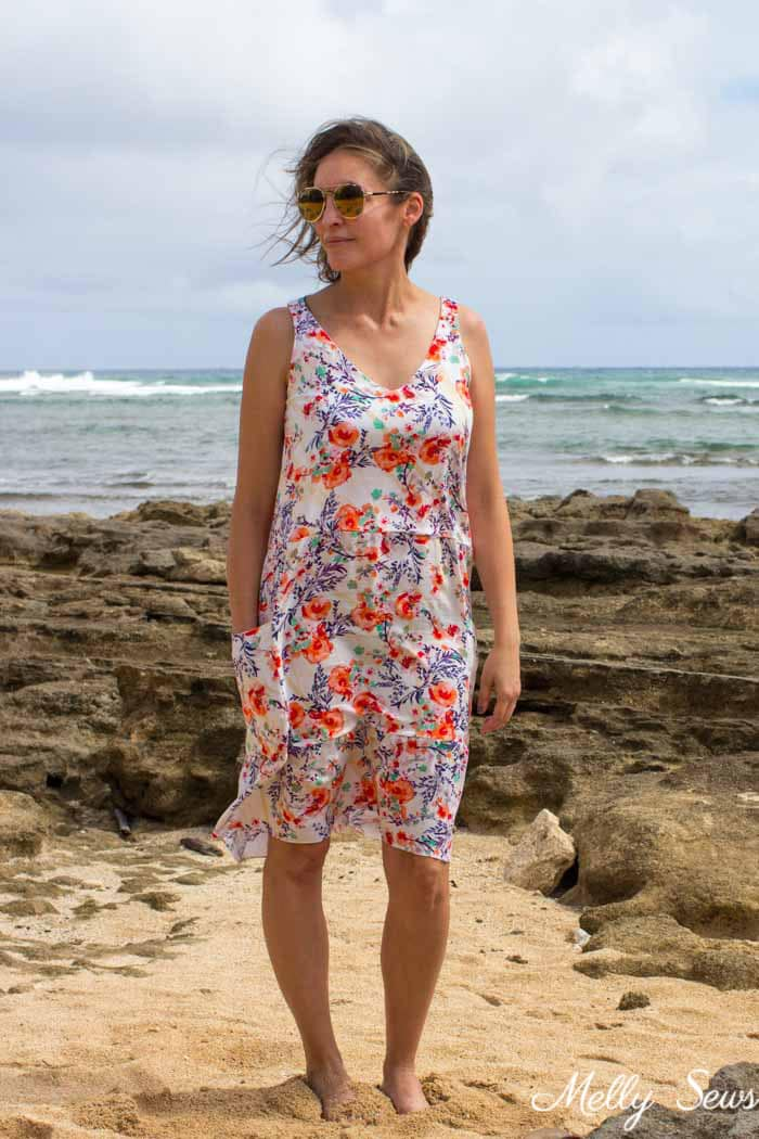 And it covers your bra straps! Sew a dropped waist floral sundress with big pockets - tutorial and pattern by Melly Sews