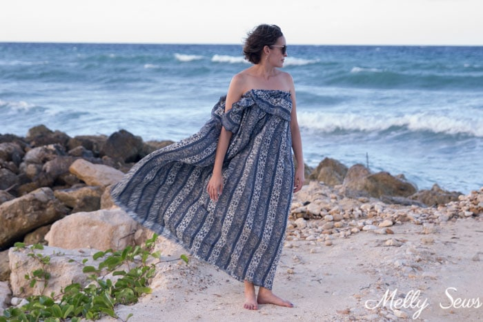 Swimsuit Cover Up Dress - Ruffled Maxi Dress Beach Cover Up - So Simple to Sew - Melly Sews