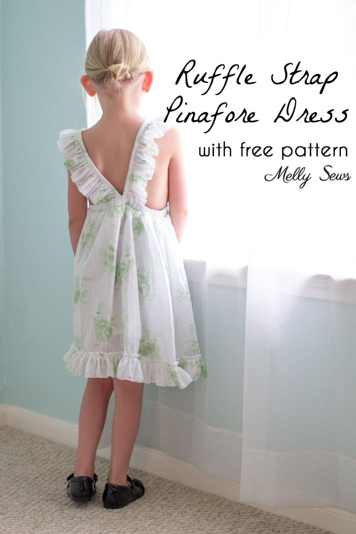 Sew a Ruffle Strap Pinafore Dress - Apron Dress for Girls - with free pattern and video tutorial on Melly Sews
