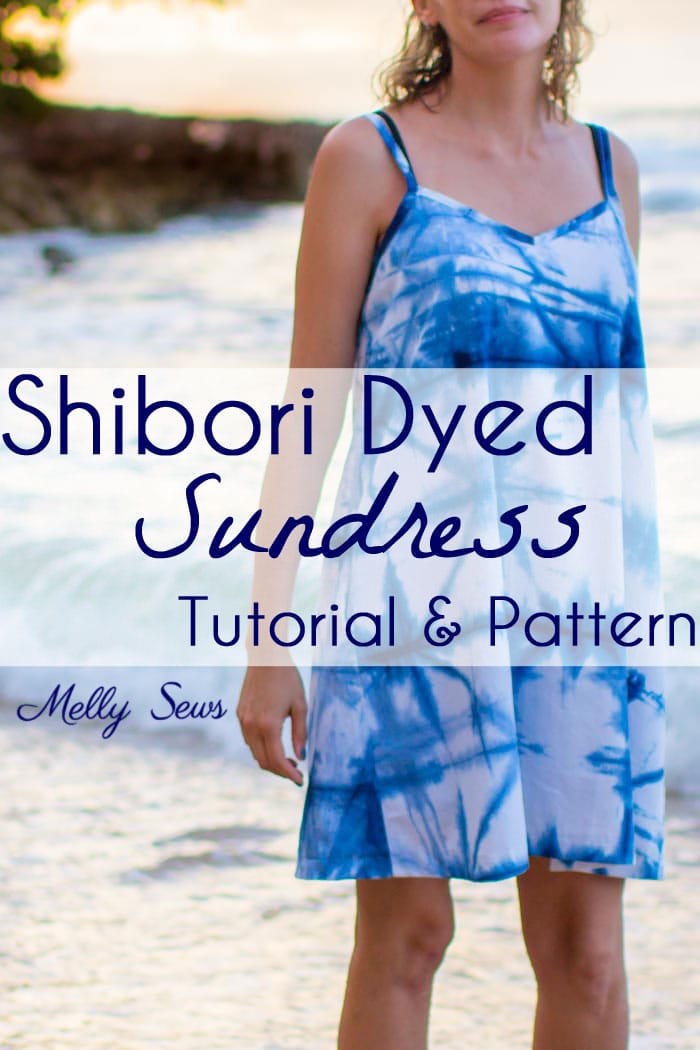 How to Shibori Dye - Make this Shibori Dyed Sundress with this tutorial and pattern - Melly Sews