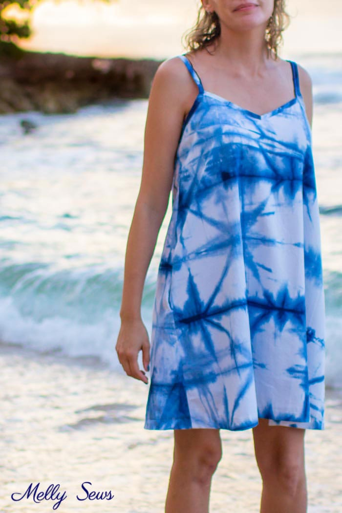 Beach Dress - How to Shibori Dye - Make this Shibori Dyed Sundress with this tutorial and pattern - Melly Sews