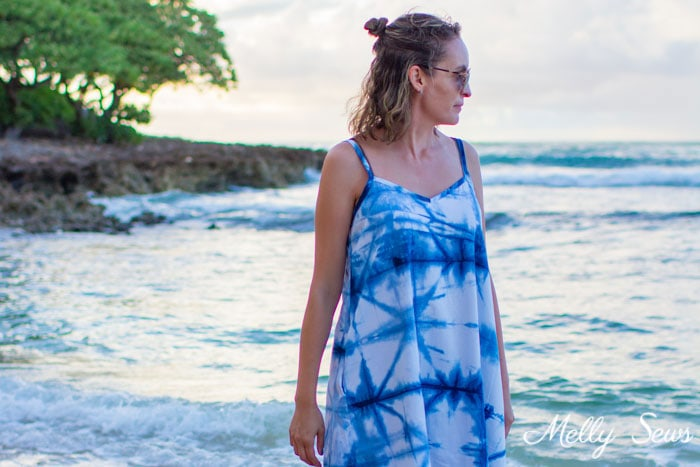 Summer Style - What to pack on a beach vacation - How to Shibori Dye - Make this Shibori Dyed Sundress with this tutorial and pattern - Melly Sews