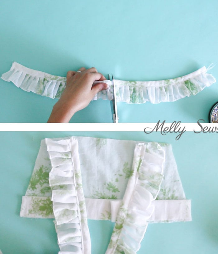 Step 2 - Sew a Ruffle Strap Pinafore Dress - Apron Dress for Girls - with free pattern and video tutorial on Melly Sews