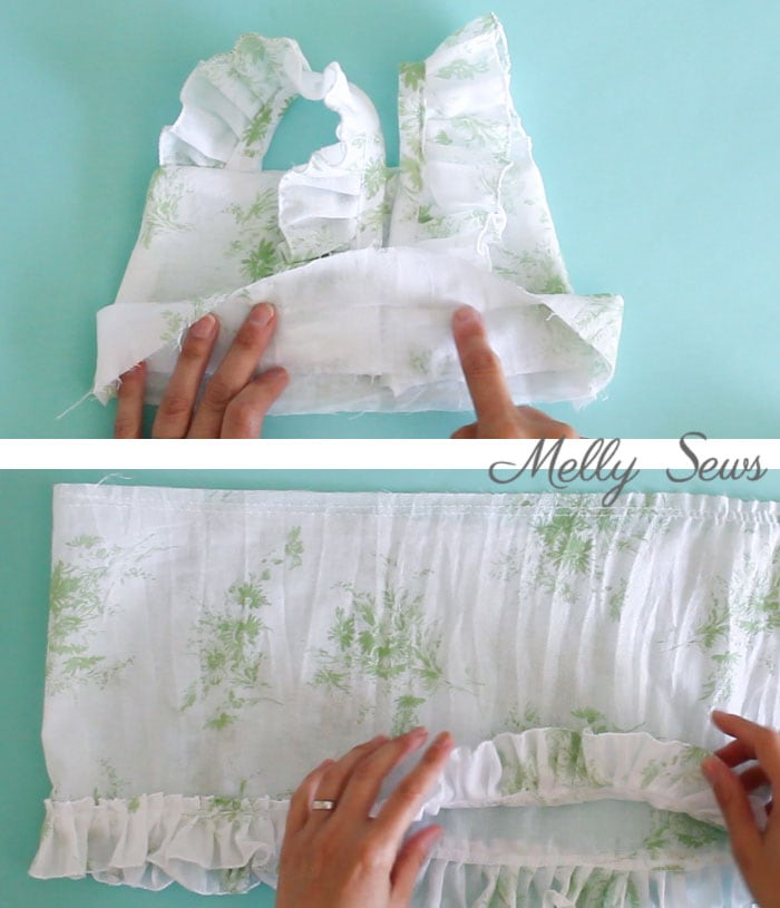 Step 3 - Sew a Ruffle Strap Pinafore Dress - Apron Dress for Girls - with free pattern and video tutorial on Melly Sews