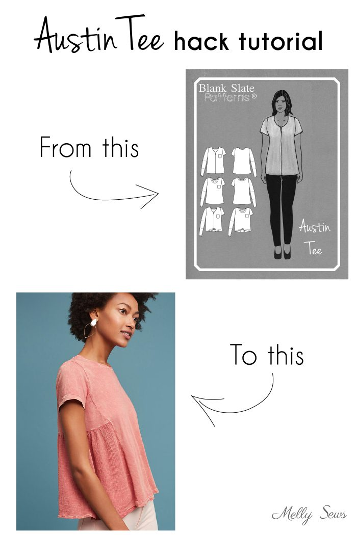 Austin Tee sewing pattern from Blank Slate Patterns - hack tutorial for a swingy knit and gauze version