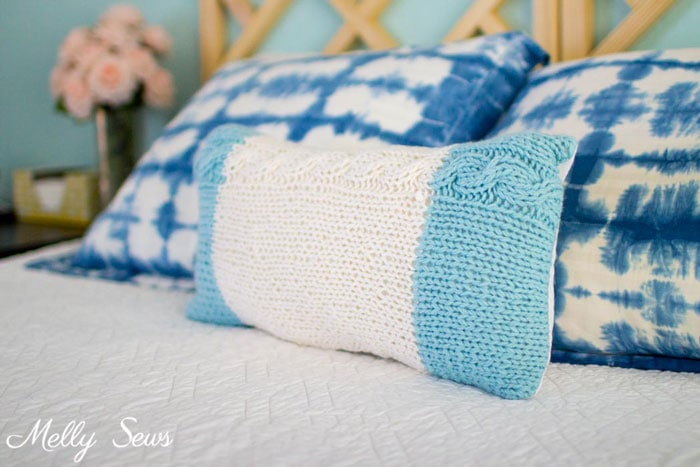 Shibori Pillow Shams and Chunky Knit - Cable Knit Pillow - Pattern and Tutorial by Melly Sews