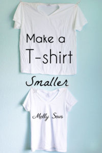 How to make a big shirt smaller - take a too large t-shirt and cut it down to size - Photo and video tutorial by Melly Sews
