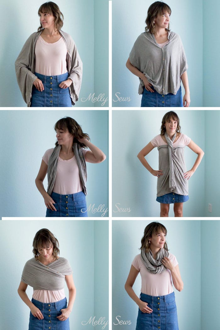 Ways to wear a travel wrap - Make a travel wrap - wear this wrap in these styles and more - simple tutorial (could even be no sew!) from Melly Sews for this travel scarf
